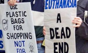 Anti-euthanasia protesters in Brisbane, Australia