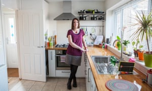 Rebecca Burston in her kitchen, which had to be replaced and cost her insurers £100,000.