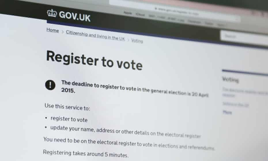 The online voting registration for the 2015 general elections in the United Kingdom
