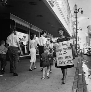 Junienne Briscoe, sixteen-years-old, joined the picket lines along Main Street, n.d.