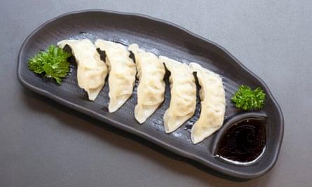 Silken dumpling cases: pork gyoza.