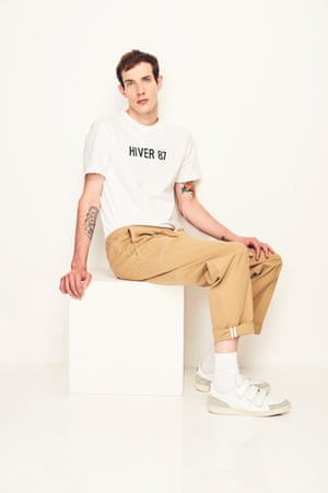 CHILL OUT Tuck in a slogan T-shirt and you are good to go Trousers, £40, LTD topman.com T-shirt, £75, APC matchesfashion.com Socks, £5 (for four pairs), marksandspencer.com Trainers £260, amiparis.com