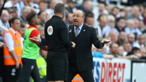 Rafael Benitez, Manager of Newcastle United reacts after Southampton's James Ward-Prowse took out Miguel Almiron at St. James Park.
