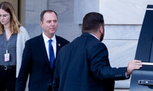 House intelligence committee chairman Adam Schiff leaves Capitol Hill last night after diplomat Fiona Hill testified before about the Trump-Ukraine scandal for almost 10 hours. There followed reports that amid the boiling controversy of the impeachment inquiry, in a rare measure for a member of Congress, Schiff now requires a security detail.