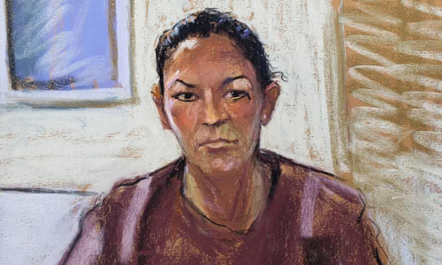 An artist's impression of Maxwell appearing via video link during her arraignment hearing.