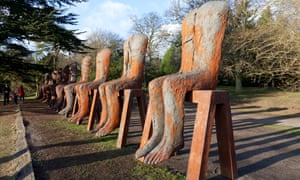 Ten Seated Figures by Abakanowicz at Yorkshire Sculpture Park, near Wakefield