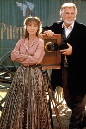 Kenny Rogers as Dr Watkins with Jane Seymour in Dr Quinn, Medicine Woman, in 1993