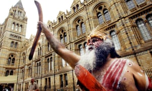 The Aborigine Major Sumner, of the Ngarrindjeri people, protests outside the Natural History Museum in 2003 over indigenous human remains.