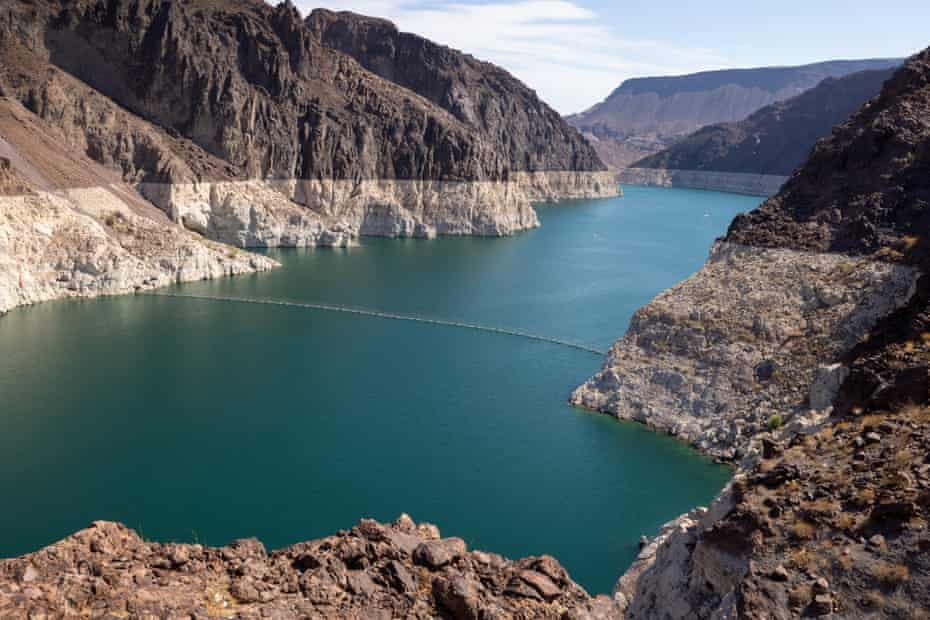 The white 'bathtub ring' around Lake Mead shows the record low water levels as drought continues to worsen in Nevada.