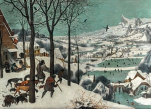 Trees so real they seem to jut out of the painting … Hunters in the Snow, 1565.