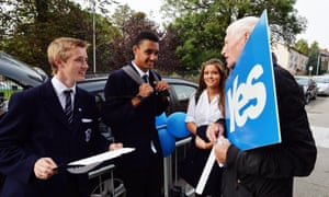 Young voters at a polling station during the Scottish independence referendum, in which 16-17-year-olds were allowed to vote.