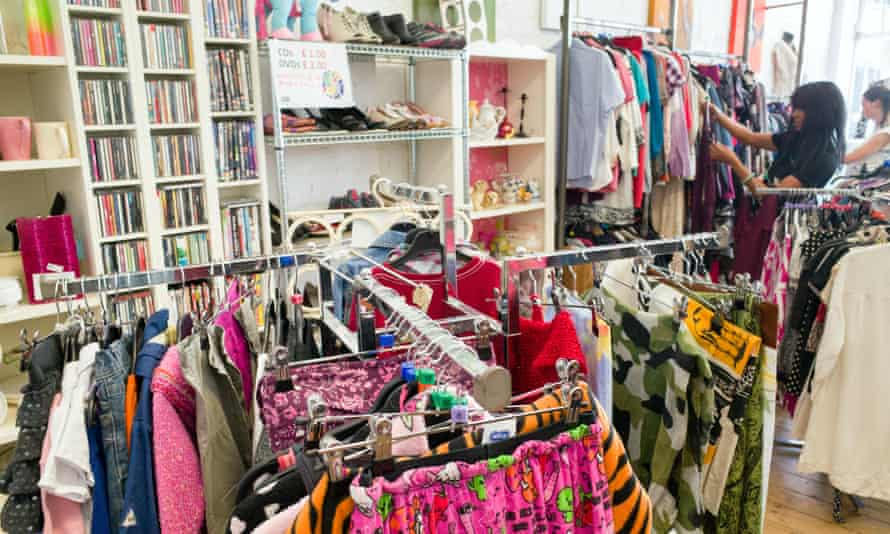Clothes on sale in a charity shop in London