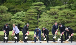 G7 leaders at a tree-planting ceremony at the Ise-Jingu shrine.
