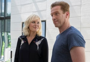 'I'm the bull!' … Damian Lewis as hedge fund maverick Bobby Axelrod with Malin Akerman as Lara Axelrod.