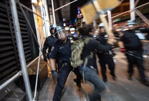 Protesters clash with New York City police during a march in Manhattan on 31 May.
