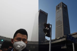 Pedestrians walking past buildings in heavy pollution and under clear skies in the central business district