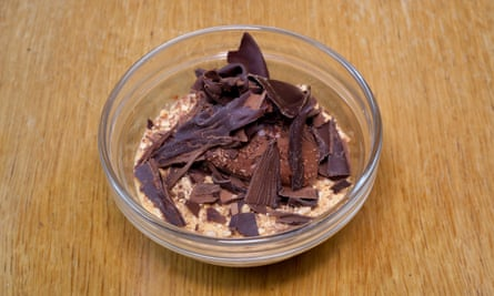 'An intense scoop of chocolate mousse': chocolate carmel pot.