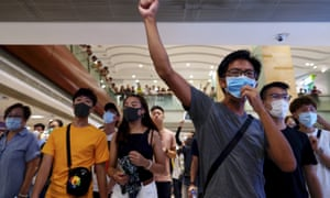 Protesters at a shopping mall in Hong Kong on September 2019.