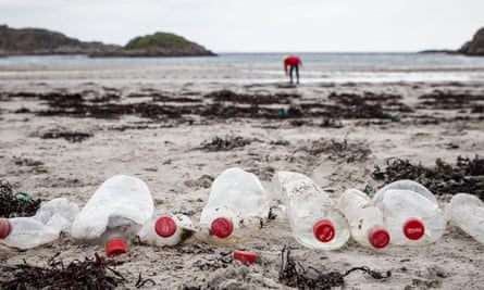 Coke bottles found by Greenpeace volunteers during a beach clean on Mull in the Hebrides.
