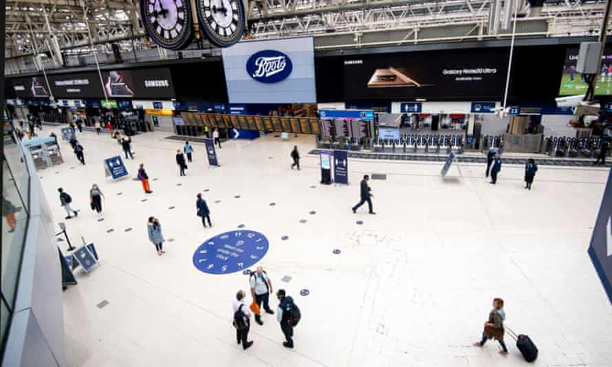 Waterloo station in London on 3 September 2020, showing very few commuters compared with before the pandemic.