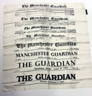White silk scarf with black print showing the changing Guardian masthead from 1821 to 1969. This is one of a pair of similar scarves given to the archive by a Guardian reader, and may have been produced to mark the 1969 masthead redesign. (GNM Archive ref: GUA/12/3/1)