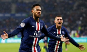 Neymar and Marco Verratti run to the crowd after the Brazilian's 88th-minute winner at Lyon confirmed PSG's domestic dominance.
