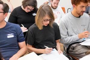 Students at a grammar workshop in Melbourne.