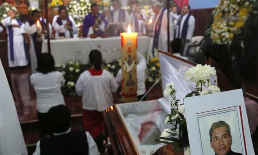 The funeral for Father Jose Juarez, one of two priests abducted and killed in Veracruz.