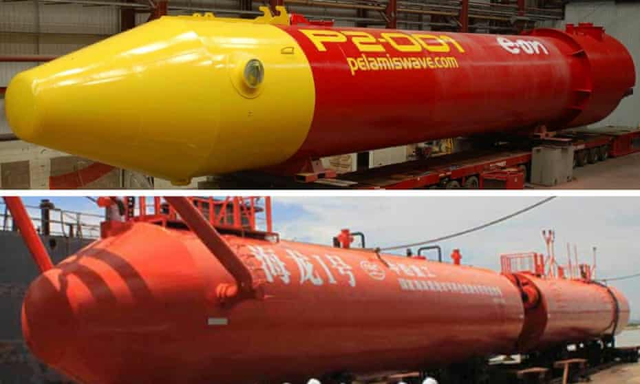 Pelamis's product (above) and the Chinese one.