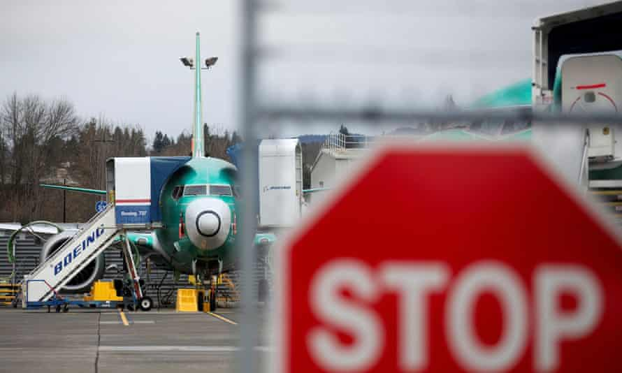 A Boeing 737 Max aircraft sits on the tarmac at Boeing's 737 Max production facility in Renton, Washington, US.