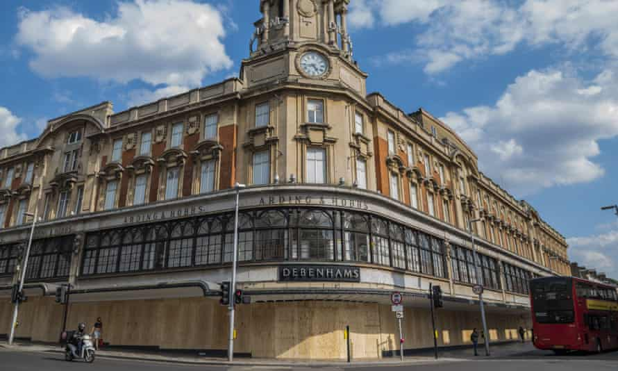 The Debenhams store in Clapham Junction, south-west London, boarded up in June during the coronavirus lockdown.