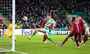 Celtic's Kristoffer Ajer misses when it would have been easier to score.