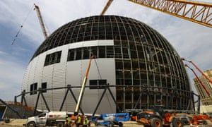 Construction continues during a tour of the Madison Square Garden Sphere at The Venetian in Las Vegas on Thursday, June 17, 2021. The same company hopes to install a near-identical sphere in London.