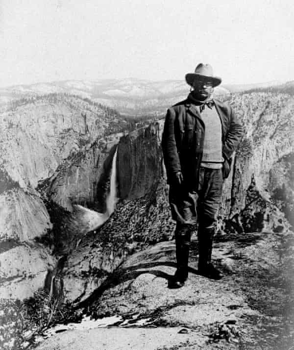 Theodore Roosevelt on Glacier Point in Yosemite National Park in 1903