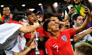 Jesse Lingard takes a selfie with his family and friends after England beat Columbia in the 2018 World Cup.