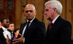 Sajid Javid with John McDonnell in parliament in London.