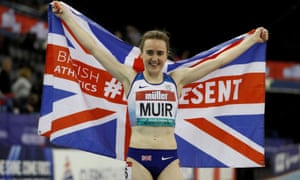 Britain's Laura Muir celebrates winning the women's one mile Final and setting a new national indoor record