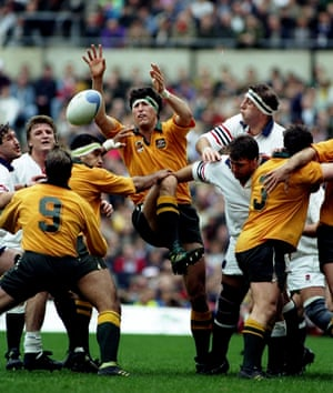 John Eales wins a line-out ball during the World Cup final at Twickenham.