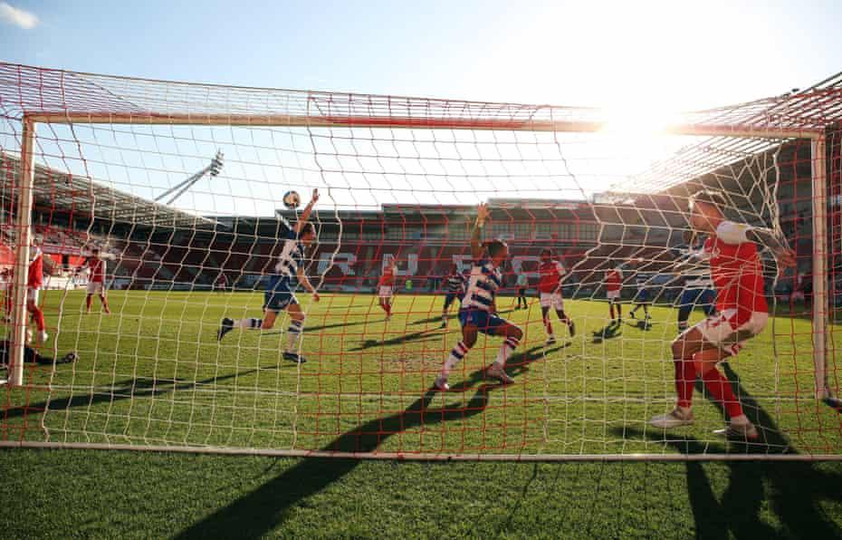 Michael Morrison celebrates after scoring Reading's winner at Rotherham last month.