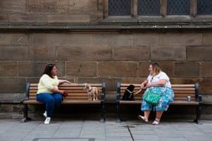 May 2020: best friends Rachel Pickering and Jane Young, along with their dogs, enjoy their first catch-up since restrictions were eased, in York