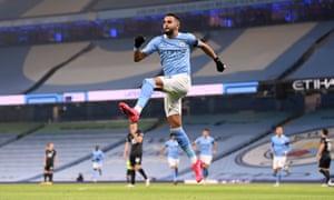 Manchester City's Riyad Mahrez celebrates scoring the first of his three goals..