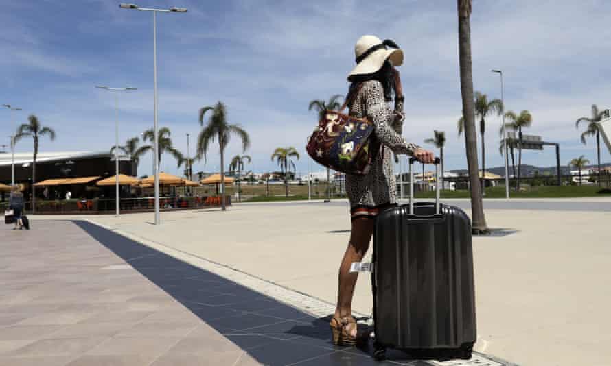 A passenger outside Faro airport