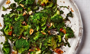Fried brocolli and kale with garlic, cumin and lime