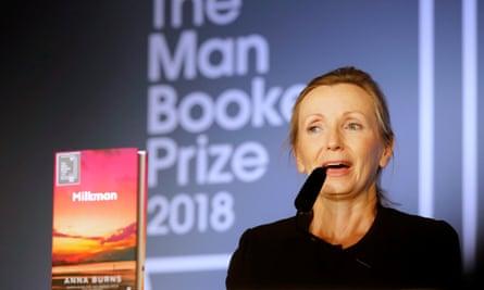 Anna Burns makes a speech after winning the Man Booker prize