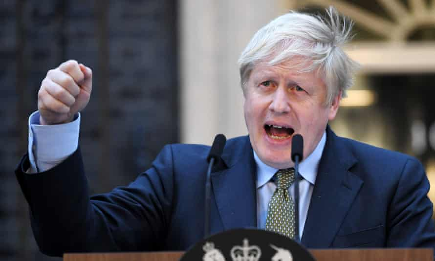 Boris Johnson speaking outside Downing Street in December 2019.