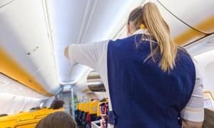 Ryanair cabin crew on a flight