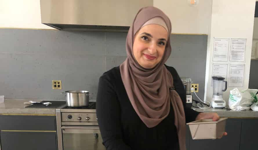 Fatimah in the kitchen, preparing maamoul.