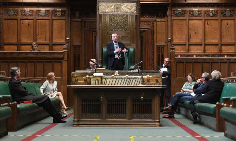 Rehearsal for 'hybrid' proceedings in the House of Commons on 20 April.
