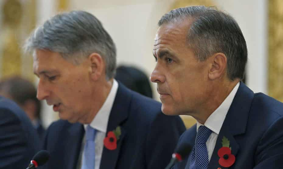 The chancellor of the exchequer, Philip Hammond (left) and the governor of the Bank of England, Mark Carney