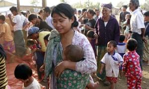Refugees in Myitkyina, Kachin state, northern Myanmar.